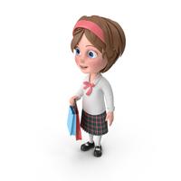 Cartoon Girl Shopping PNG & PSD Images