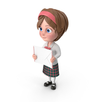 Cartoon Girl Holding Letter PNG & PSD Images