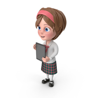 Cartoon Girl Holding Tablet PNG & PSD Images
