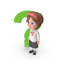Cartoon Girl Standing Next to Question Sign PNG & PSD Images