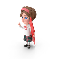 Cartoon Girl Holding Pointer PNG & PSD Images