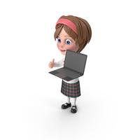 Cartoon Girl Holding Laptop PNG & PSD Images