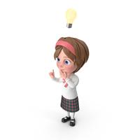 Cartoon Girl Has An Idea PNG & PSD Images