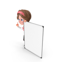 Cartoon Girl Presenting PNG & PSD Images