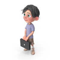 Cartoon Boy Jack Holding Briefcase PNG & PSD Images