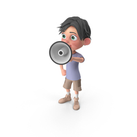 Cartoon Boy Jack Holding Loud Speaker PNG & PSD Images