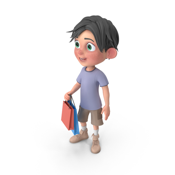 Cartoon Boy Jack Shopping PNG & PSD Images