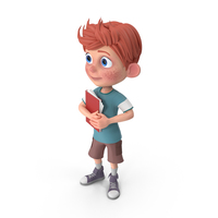 Cartoon Boy Charlie Holding Notepad PNG & PSD Images