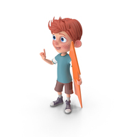 Cartoon Boy Charlie Holding Pointer PNG & PSD Images
