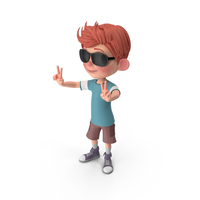 Cartoon Boy Charlie Wearing Sunglasses PNG & PSD Images