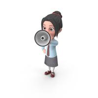 Cartoon Girl Emma Holding Loud Speaker PNG & PSD Images