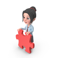 Cartoon Girl Emma Holding Puzzle Piece PNG & PSD Images