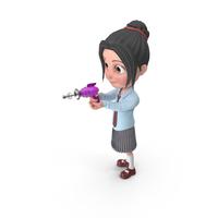 Cartoon Girl Emma Shooting PNG & PSD Images