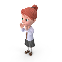 Cartoon Girl Grace Cheering PNG & PSD Images