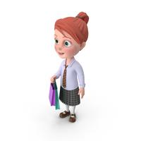 Cartoon Girl Grace Shopping PNG & PSD Images