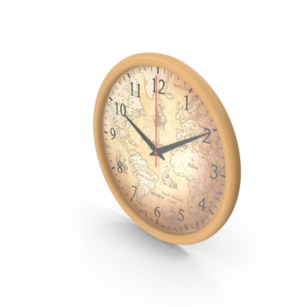 Map Wall Clock PNG & PSD Images