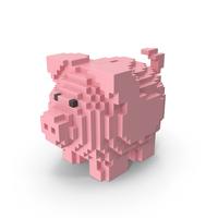 Voxel Piggy Bank PNG & PSD Images