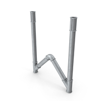 Galvanized Pipe Letter W PNG & PSD Images