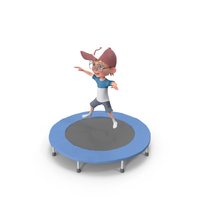 Cartoon Boy Harry Jumping On Trampoline PNG & PSD Images