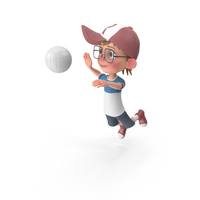 Cartoon Boy Harry Playing Volleyball PNG & PSD Images