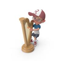 Cartoon Boy Harry Playing Harp PNG & PSD Images