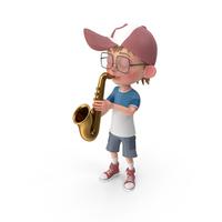 Cartoon Boy Harry Playing Saxophone PNG & PSD Images