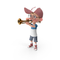 Cartoon Boy Harry Playing Trumpet PNG & PSD Images