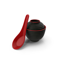 Japanese Soup Bowl and Spoon PNG & PSD Images