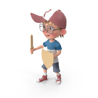 Cartoon Boy Harry Holding Sword And Shield PNG & PSD Images