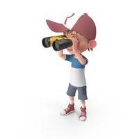 Cartoon Boy Harry Looking Through Binoculars PNG & PSD Images