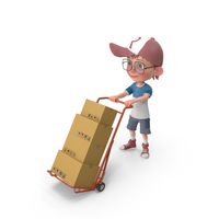 Cartoon Boy Harry Delivering Boxes PNG & PSD Images