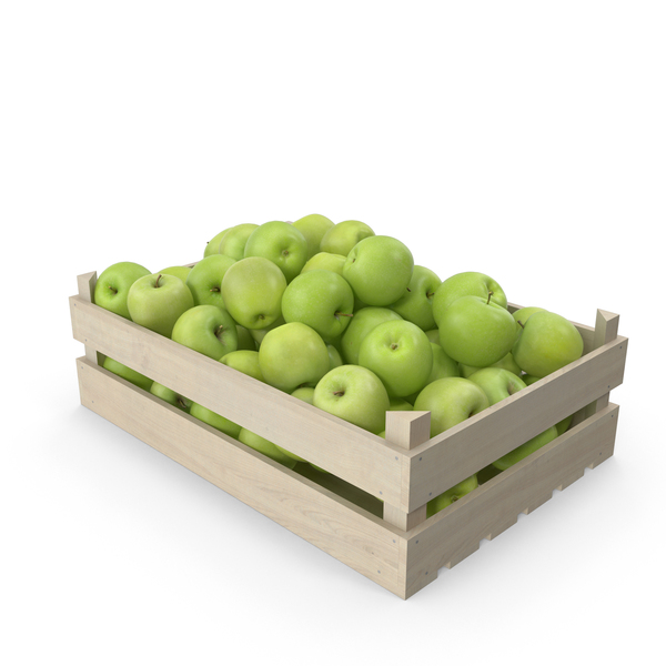 Apples Granny Smith in Wooden Crate PNG & PSD Images