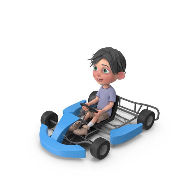 Cartoon Boy Jack Driving Go Cart PNG & PSD Images