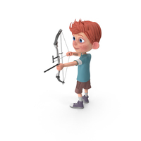 Cartoon Boy Charlie Using Bow PNG & PSD Images