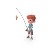 Cartoon Boy Charlie Fishing PNG & PSD Images