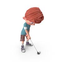 Cartoon Boy Charlie Golfing PNG & PSD Images