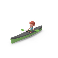Cartoon Boy Charlie Kayaking PNG & PSD Images