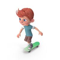 Cartoon Boy Charlie Skateboarding PNG & PSD Images