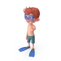 Cartoon Boy Charlie In Swim Suit PNG & PSD Images