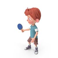Cartoon Boy Charlie Playing Table Tennis PNG & PSD Images