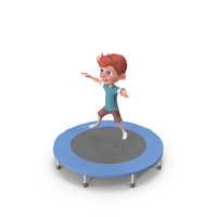 Cartoon Boy Charlie Jumping On Trampoline PNG & PSD Images