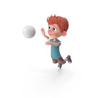 Cartoon Boy Charlie Playing Volleyball PNG & PSD Images