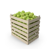 Wooden Crates with Apples Granny Smith PNG & PSD Images
