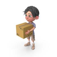 Cartoon Boy Jack Carrying A Box PNG & PSD Images