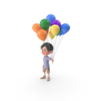 Cartoon Boy Jack Holding Balloons PNG & PSD Images