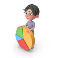 Cartoon Boy Jack Holding Pie Chart PNG & PSD Images