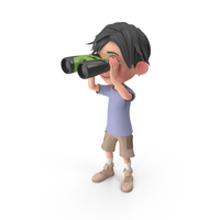 Cartoon Boy Jack Looking Through Binoculars PNG & PSD Images