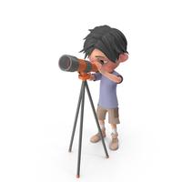 Cartoon Boy Jack Looking Through Telescope PNG & PSD Images