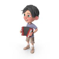 Cartoon Boy Jack Playing Accordion PNG & PSD Images