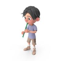 Cartoon Boy Jack Playing Recorder PNG & PSD Images